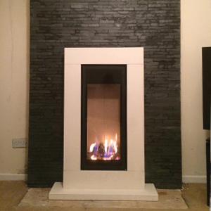 Gazco Studio 22 with Sorrento Limestone Surround Fitted in Stockport