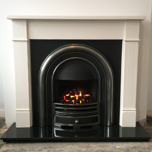 Limestone Fireplace with High Efficiency Cast Insert