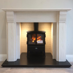Newmans Limestone Mantel with Dimplex Oakhurst Electric Stove