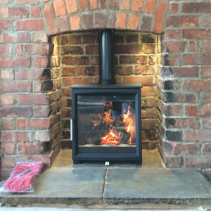 Woodtec 5 Woodburning Stove in brick chimney