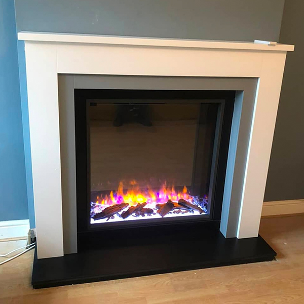 Gazco eReflex 75R electric fire in timber fireplace surround