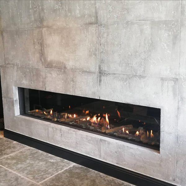 Element4 Modore 240H gas fire in custom concrete effect wall Cheshire