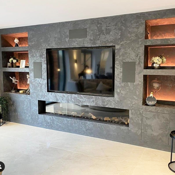 Media Wall incorporating the Element4 Modern 240 Gas Fire in Manchester