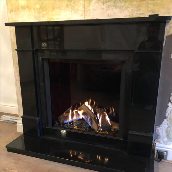 Gazco Reflex 75T Gas Fire in Granite Fireplace