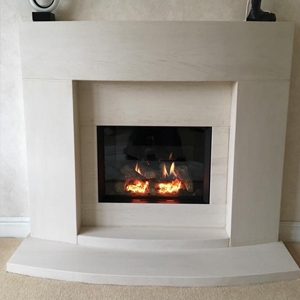 Custom Limestone Fireplace with Gazco Gas Fire Manchester